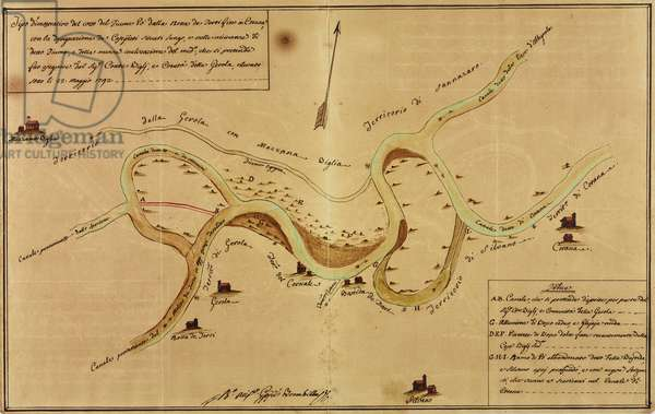 Confluence of Agogna Torrent in bend of Po near Corana, ink drawing coloured with diluted ink and watercolour, Italy, 18th century