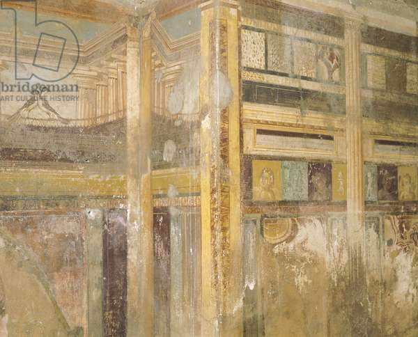 Detail of fresco, part of wall decorations, House of Labyrinth, Pompeii , Campania, Roman Civilization, 1st Century