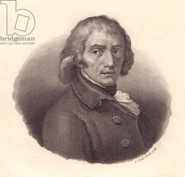 Portrait of Italian poet Giuseppe Parini (1729-1799), copper engraving by Piotti from drawing by Andrea Appiani