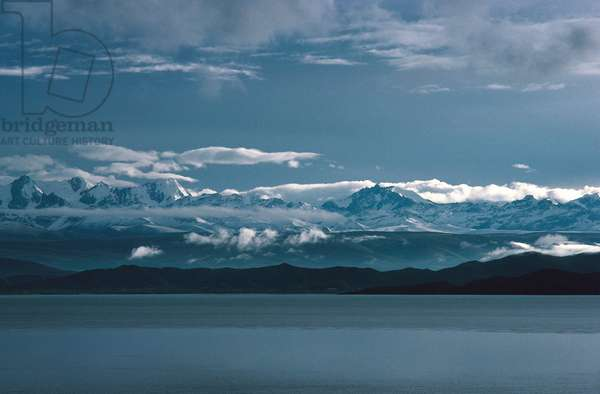 Lake Titicaca and Andes mountain range in background, Bolivia (photo)