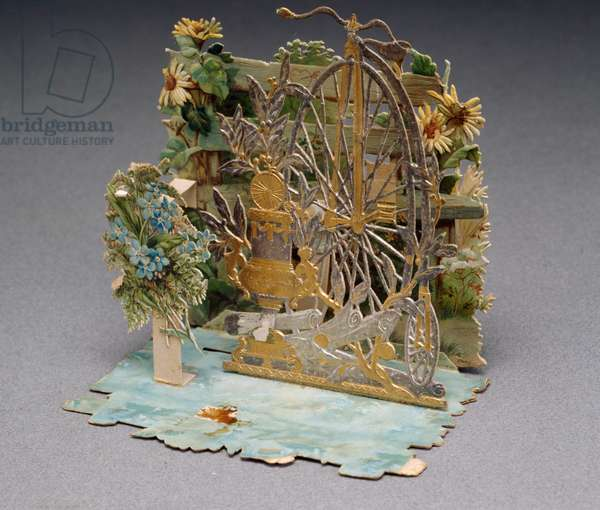 Velocipede, Die-cut 3D greeting card, Italy, 20th century