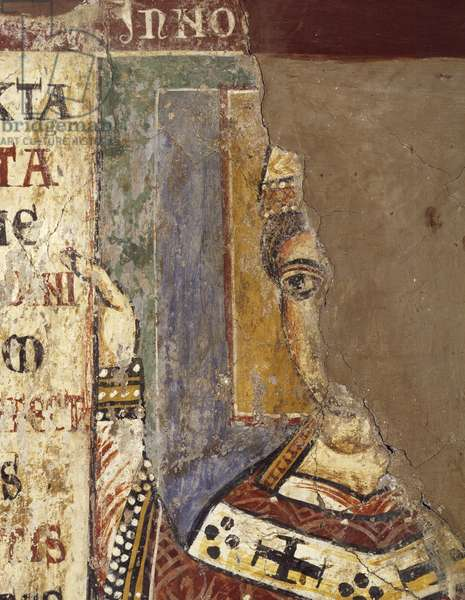 Pope Innocent III, by Master of Pope Innocent's III Bull, detail from fresco, 13th century