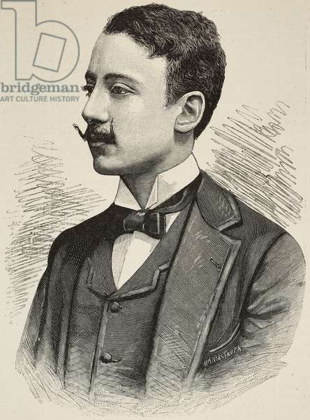 Portrait of Gabriele D'Annunzio (1863-1938), Italian author, poet and patriot, engraving by E Mancastroppa from photograph by H Le Lieure from L'Illustrazione Italiana, year 16, no 31, August 4, 1889