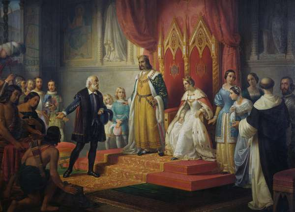 Christopher Columbus received by Catholic kings, 1850, painting by Juan Cordero (1822-1884), oil on canvas, 180x251 cm