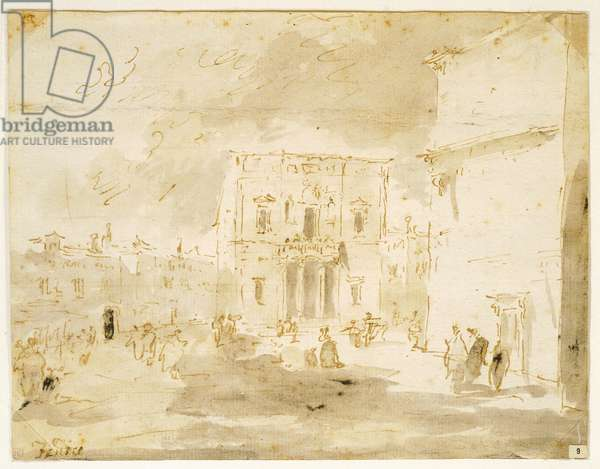 Fenice Theatre, by Francesco Guardi (1712-1793), drawing