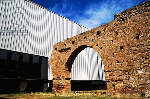 Medieval arch next to New Verdi Theatre, Brindisi, Apulia, Italy