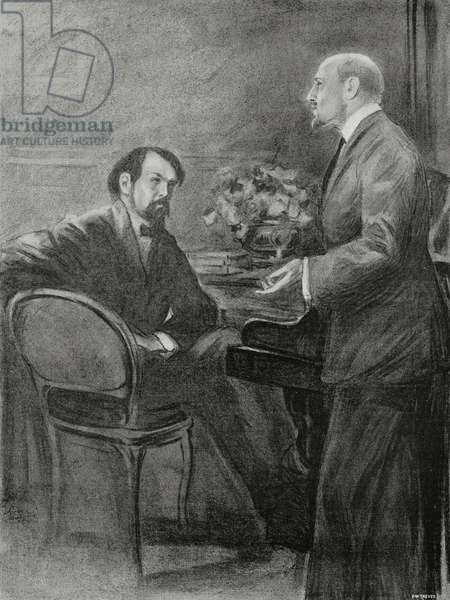 Claude Debussy and Gabriele d'Annunzio during rehearsals for Martyrdom of Saint Sebastian in Paris, France, drawing by L Bompard, from L'Illustrazione Italiana, Year XXXVIII, No 21, May 21, 1911