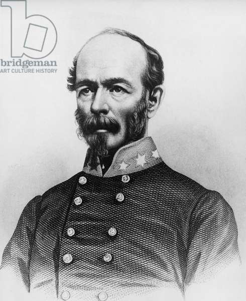 Portrait of Joseph Eggleston Johnston (1807-1891), American Army officer during Mexican-American War, Seminole Wars, and American Civil War, engraving