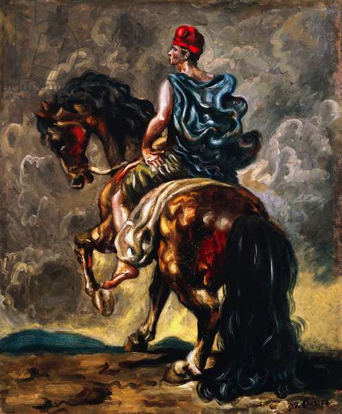 Knight with red cap and blue hammer, 1939, by Giorgio de Chirico (1888-1978), oil on cardboard, 47x36 cm. Italy, 20th century.