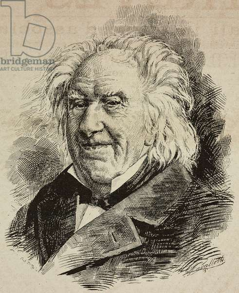 Portrait of Michel Eugene Chevreul (1786-1889), French chemist, drawing by G Cavallotti, engraving from L'Illustrazione Italiana, No 38, September 12, 1886