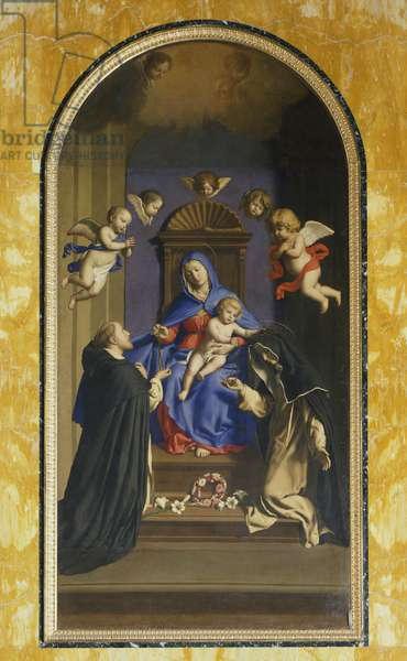 Our Lady of the Rosary with St Dominic and St Catherine, Chapel of St Catherine, Basilica of St Sabine, Rome, Italy, 17th century