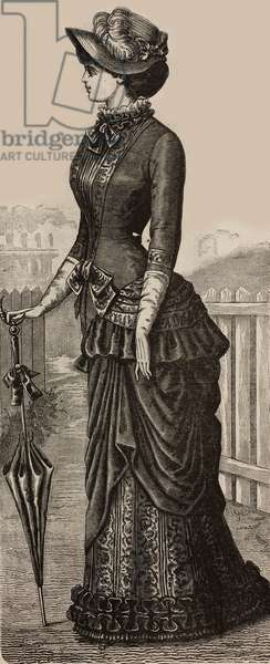 Woman wearing cashmere and Moire Pompadour dress, Madame Coussinet design, engraving from La Mode Illustree, No 14, April 2, 1882