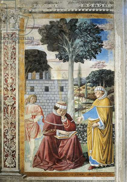 St. Agostino reading epistles of St. Paul, detail from Stories of St. Augustine, 1465, by Benozzo Gozzoli (1420-1497), fresco, Church of St. Augustine, San Gimignano, Siena, Italy