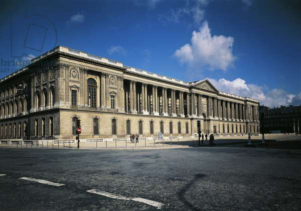 Colonnade (columns) of facade of Louvre in Paris, France, by architect Claude Perrault.