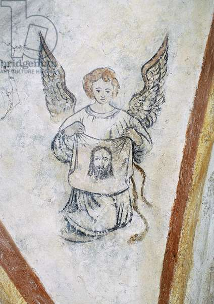 Detail from vault chapel with angel and symbol of Passion, La Vigne Castle (15th century), Ally, Auvergne, France