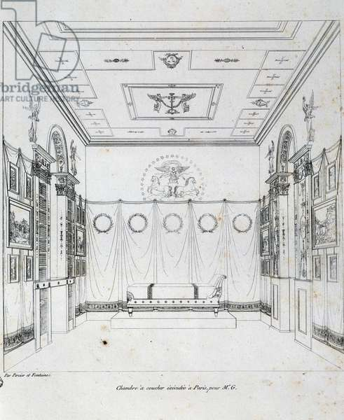Bedroom made in Paris for Mr g, 1801, drawing from Recueil de decorations Interieures by Charles Percier (1764-1838) and Pierre Francois Leonard Fontaine (1762-1853), France,19th century