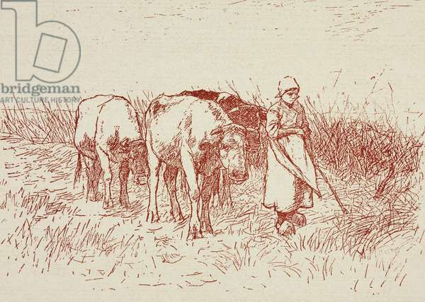 Guardian of cows, by Anton Mauve, from Sketch and pen drawings by the most renowned artists: series 2, animals, 1900