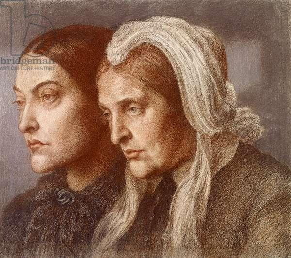 Christina Georgina Rossetti and Frances Mary Lavinia Rossetti, 1877 (charcoal on paper)