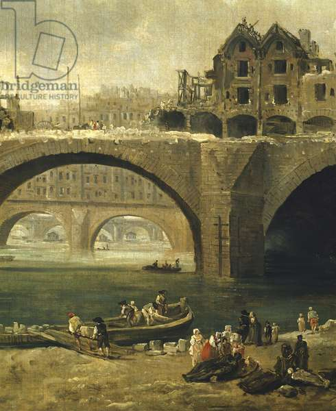 Demolition of the Houses on the Pont Notre-Dame in Paris in 1786, Hubert Robert, France, 18th Century Detail
