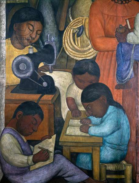 The family at work together, by Diego Rivera (1886-1957), detail from the Ministry of Education frescoes (1923-1928), Mexico City. Mexico, 20th century.