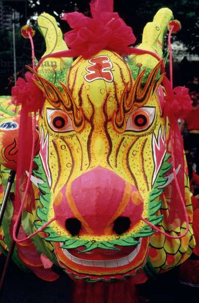 Head of flaming dragon, Chingay, Chinese New Year festival, Singapore, Republic of Singapore