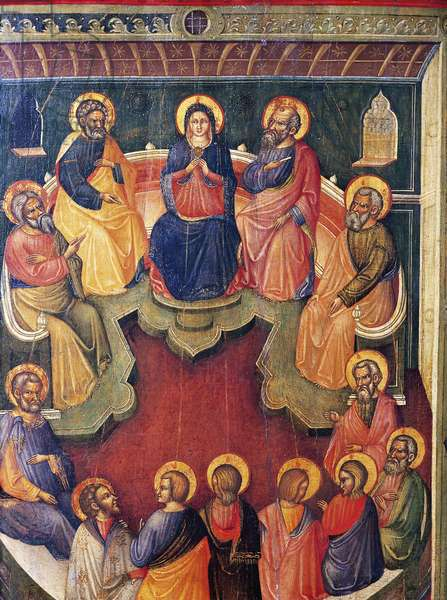The Virgin surrounded by twelve apostles or Pentecost, by Paolo Veneziano (active 1333-1358)
