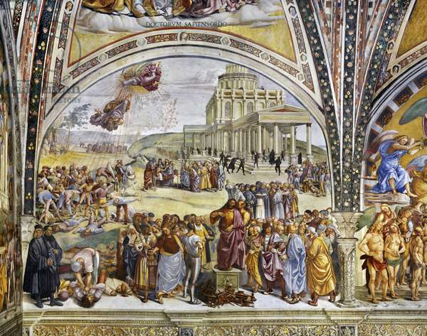 Sermon and Deeds of the Antichrist from Last Judgment cycle, 1499-1504 (fresco)