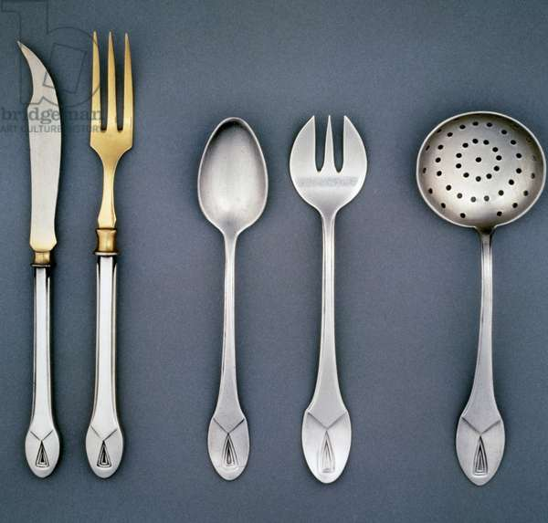Silver flatware, 1906, made by Henry van de Velde (1863-1957) for Clarfeld and Springmeyer. Belgium, 20th century.
