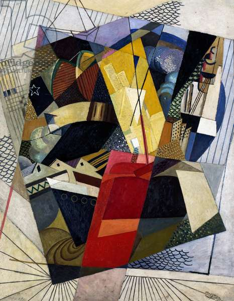 In port, 1917, by Albert Gleizes (1881-1953), oil and sand on cardboard, 153x120 cm. France, 20th century.