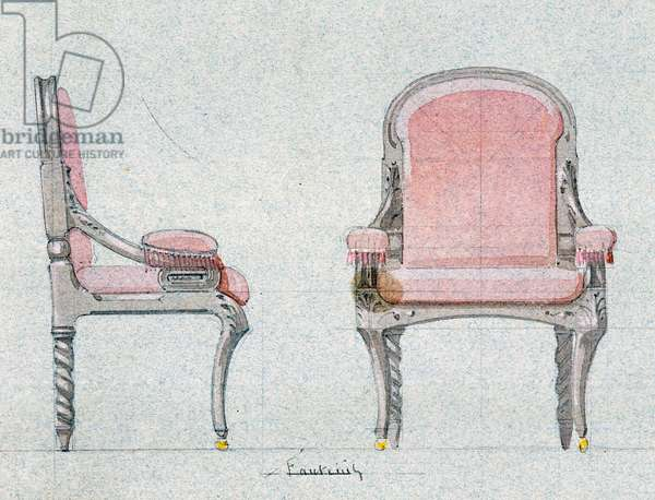 Armchair for the Golden room, Chateau d'Eu, 1875, by Eugene Emmanuel Viollet-Le-Duc (1814-1879), watercolor drawing