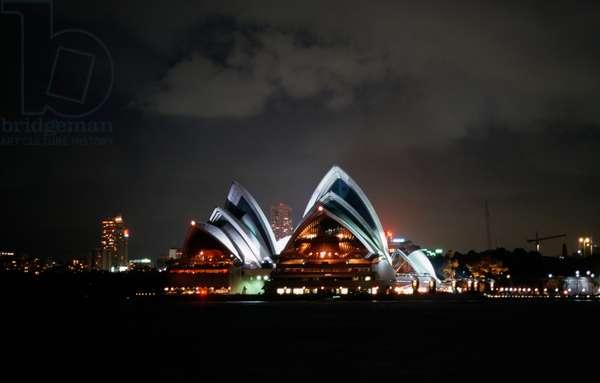Sydney Opera House (UNESCO World Heritage List, 2007), 1959-1973, night view, New South Wales, Australia, 20th century