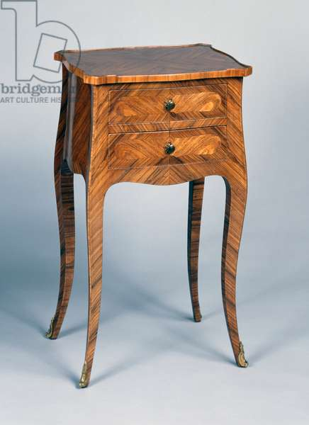Louis XV Second Empire style (Napoleon III) bedside table with tulipwood marquetry with herringbone pattern veneer, copy, France, second half 19th century