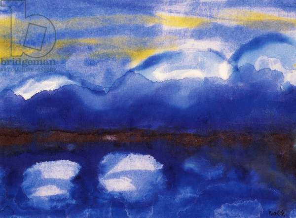 Dresden, bridge over the Elbe River, undated, by Emil Nolde (1867-1956), watercolour. Germany, 20th century.