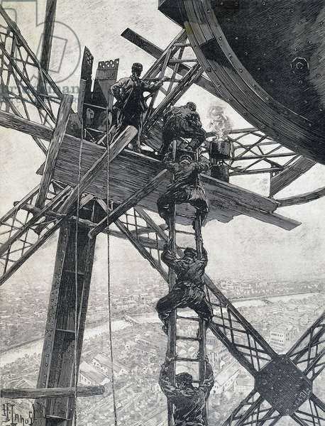 Paris, workers descending from top of Eiffel Tower in December 1888, during construction of tower for Universal Exhibition of 1889, engraving, France
