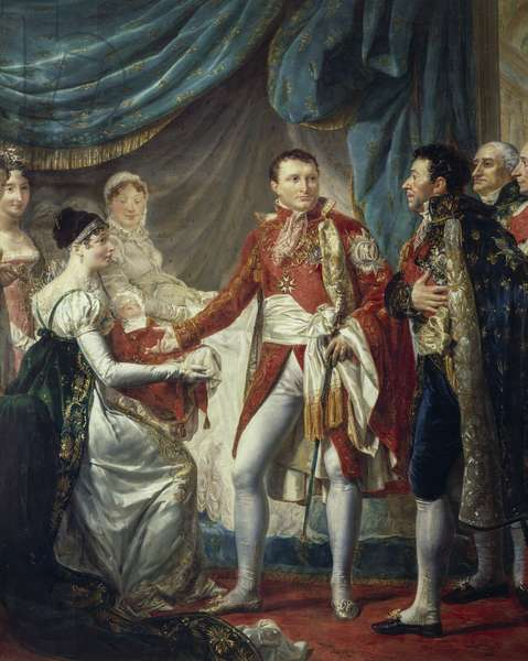Napoleon Bonaparte presenting his son to the dignitaries, painting by Georges Rouget, France, 19th century