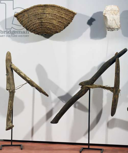 Basket and wooden spades, agricultural implements, Egyptian civilization, New Kingdom