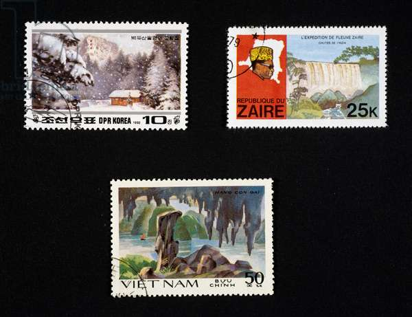 Postage stamp depicting winter landscape, waterfall on Zaire river, Con-gai cave, North Korea, Zaire, Vietnam, 20th century