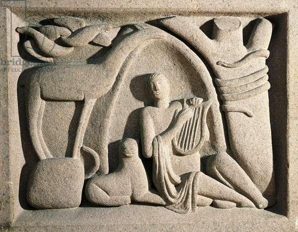 Orpheus, 1922, sandstone sculpture by Arturo Martini (1889-1947). Italy, 20th century.