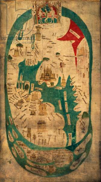 The Evesham world map, ca 1390-1415, created under the patronage of Nicholas Hereford, Prior of Evesham Abbey (1352-1392), and Roger Yatton abbot of Evesham (1372-1418), ink on parchment, 94x46 cm, Evesham (1390-1415 ca), England, 14th-15th century