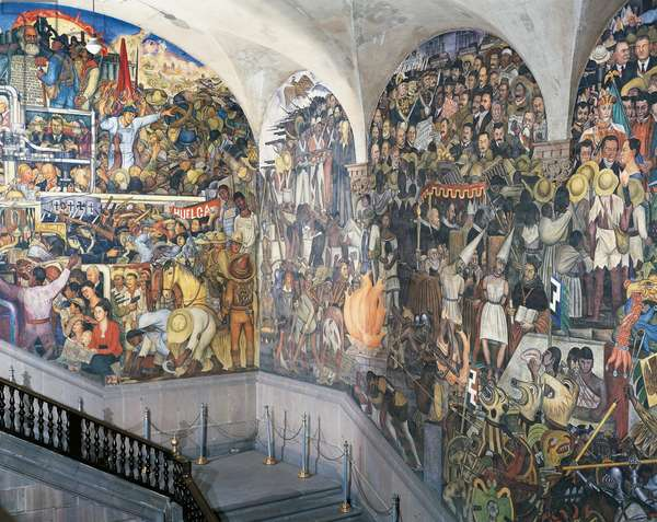 The class struggle, left, the execution of Maximilian, centre, Madero's Revolution, right, detail from the History of Mexico, by Diego Rivera (1886-1957), frescoes from the staircase of the National Palace, Mexico City. Mexico, 20th century.