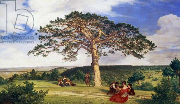 Big pine in Bruhl valley near Moding, 1838, by Ludwig Ferdinand Schnorr von Carolsfeld (1788-1853), oil on canvas, 67x114 cm. Germany, 19th century.