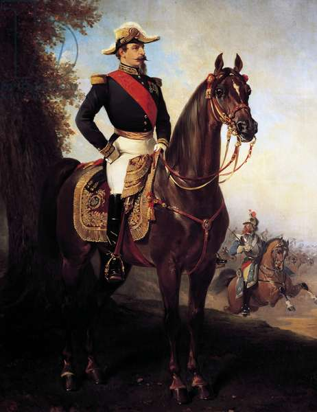 Portrait of Napoleon III of France on horseback (Paris, 1808-Chislehurst, 1873), Emperor of French, painting by Alfred Dedreux (1810-1860)
