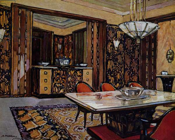 Dining room, Watercolor by Andre Frechet, From Interieurs Modernes, France, 20th century