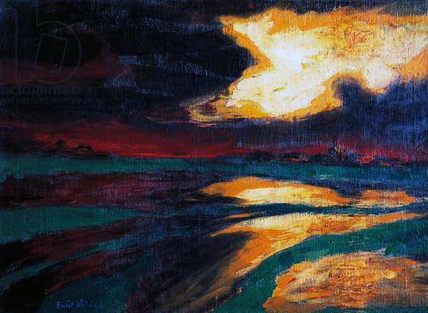 Autumn evening, 1924, by Emil Nolde (1867-1956), oil on canvas, 73x100 cm. Germany, 20th century.