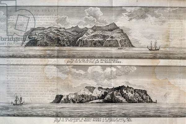 View of Alejandro Selkirk Island or Mas Afuera Island, Juan Fernandez Archipelago, Chile, engraving