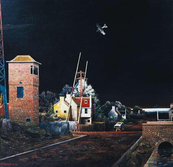 Karl Buchstatter's fatal dive, 1929, by Franz Radziwill (1895-1983), oil on masonite, 90x95 cm. Germany, 20th century.