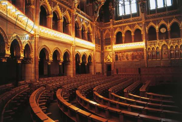 Parliament hall, 1885-1904, Pest, Budapest (UNESCO World Heritage List, 1987), Hungary