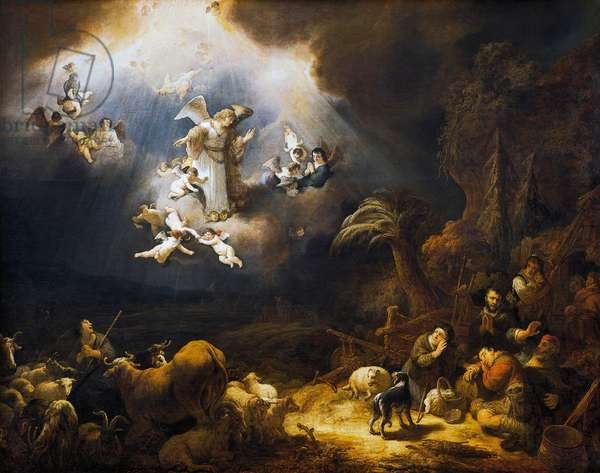 Angels announcing Christ's birth to shepherds, 1639