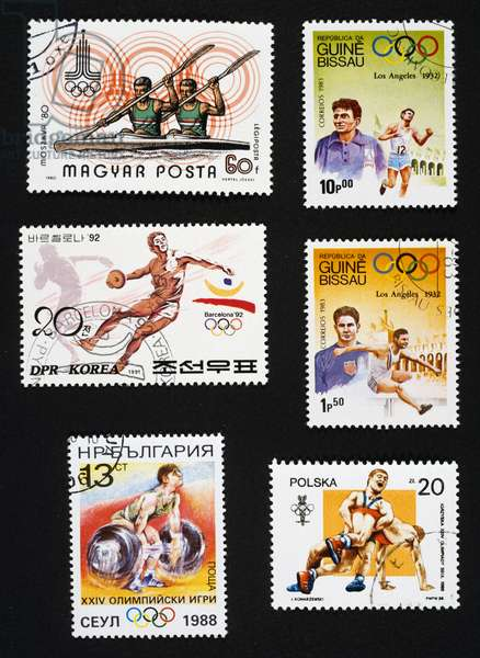 Postage stamps honoring sport with Olympic Games in Seoul, Los Angeles, Barcelona and Moscow, Hungary, North Korea, Bulgaria, Guinea Bissau, Poland, 20th century