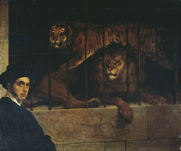 Self-portrait with a Tiger and Lion, by Francesco Hayez, 1831, oil on wood